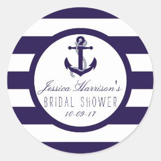 Nautical Anchor Navy Stripe Bridal Shower Favor Round Sticker