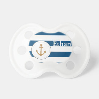 Nautical Anchor Navy Striped Customizable Pacifier