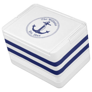 Nautical Anchor Navy Striped Family Name Cooler
