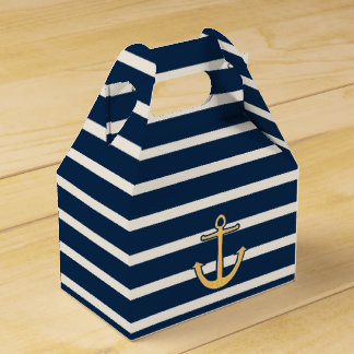 Nautical Anchor Navy Stripes Favour Box