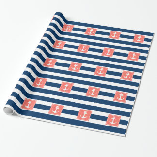 Nautical Anchor Navy Stripes for All Purpose. Wrapping Paper