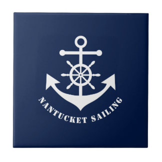 Nautical anchor on Navy Blue Ceramic Tile