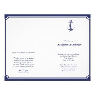 Nautical Anchor on Navy Wedding Program Flyer