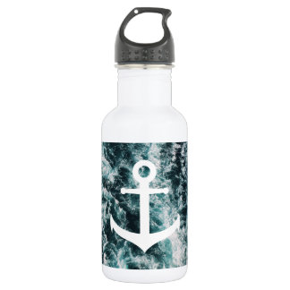 Nautical anchor on ocean photo background 532 ml water bottle