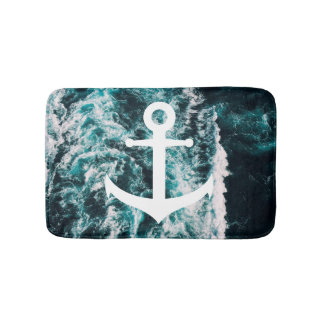 Nautical anchor on ocean photo background bath mat