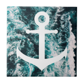 Nautical anchor on ocean photo background ceramic tile