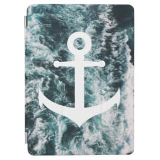 Nautical anchor on ocean photo background iPad air cover