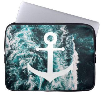 Nautical anchor on ocean photo background laptop sleeve