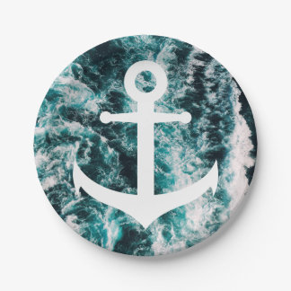 Nautical anchor on ocean photo background paper plate