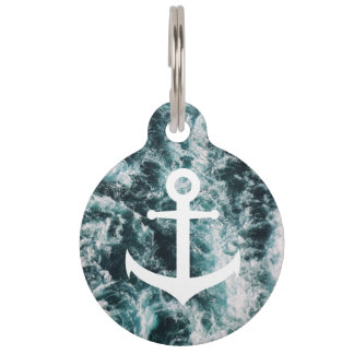 Nautical anchor on ocean photo background pet ID tag