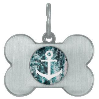 Nautical anchor on ocean photo background pet name tag