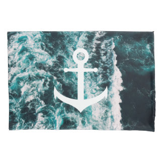 Nautical anchor on ocean photo background pillowcase