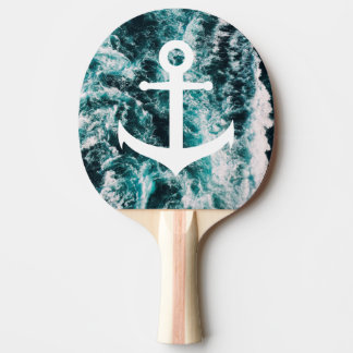 Nautical anchor on ocean photo background ping pong paddle
