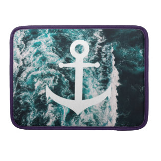 Nautical anchor on ocean photo background sleeve for MacBooks