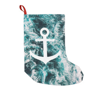 Nautical anchor on ocean photo background small christmas stocking