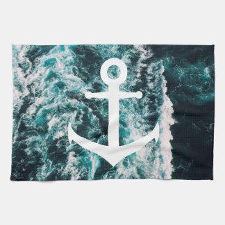 Nautical anchor on ocean photo background tea towel