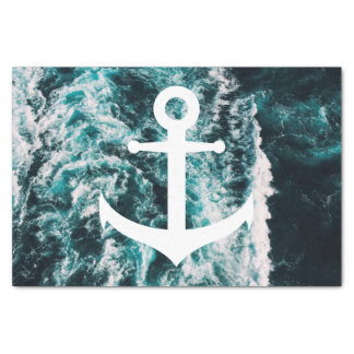 Nautical anchor on ocean photo background tissue paper