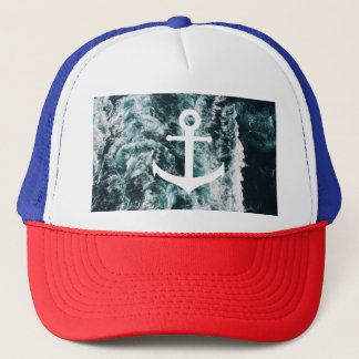 Nautical anchor on ocean photo background trucker hat