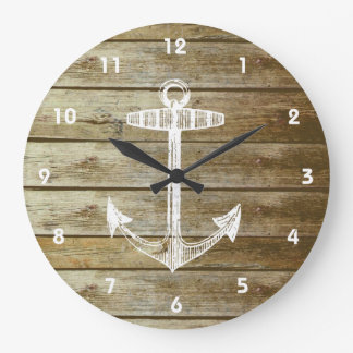 Nautical Anchor on wood graphic Clock