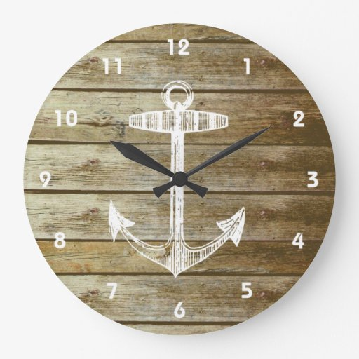 Nautical Anchor on wood graphic Clocks