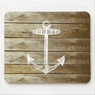 Nautical Anchor on wood graphic Mouse Pad
