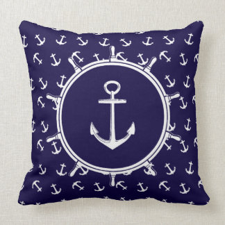 Nautical Anchor Pattern and Ship Wheel Throw Pillow