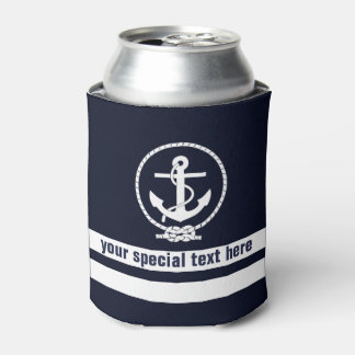 Nautical Anchor Pattern Monogram with Add text Can Cooler
