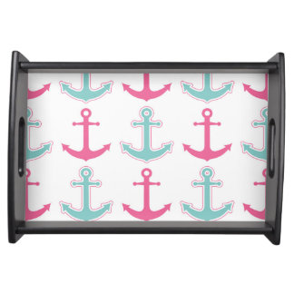 Nautical Anchor Pattern Pink and Aqua Serving Tray