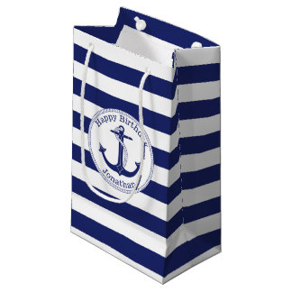 Nautical Anchor Personalized Birthday Small Gift Bag
