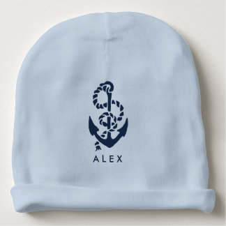 Nautical Anchor Personalized Blue Baby Beanie