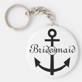 Nautical Anchor Personalized Bridesmaid Basic Round Button Key Ring