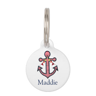 Nautical Anchor Personalized Cat or Dog Pet Pet Name Tag