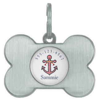 Nautical Anchor Personalized Pet Cat or Dog Pet Name Tags