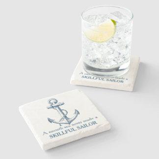 Nautical anchor quote A smooth sea never coaster Stone Coaster