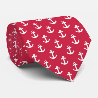 Nautical Anchor Red and White Tie
