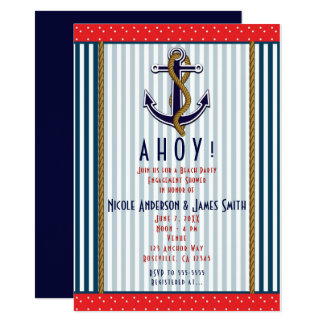 Nautical Anchor Red White Blue Stripes & Dots Card