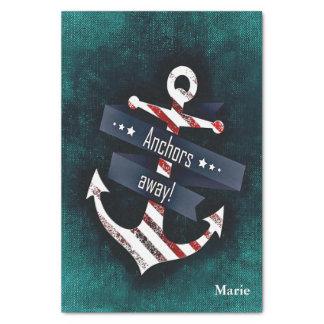 Nautical Anchor Red White Stripe Blue Monogram Tissue Paper