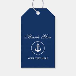 Nautical Anchor Rope Boat Name Thank You Gift Tags