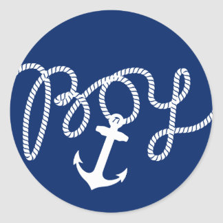 Nautical Anchor & Rope Boy Baby Shower Classic Round Sticker