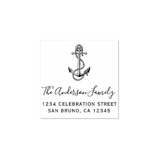 Nautical Anchor & Rope Elegant Return Address Rubber Stamp