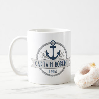 Nautical Anchor & Rope Personalized Logo Coffee Mug
