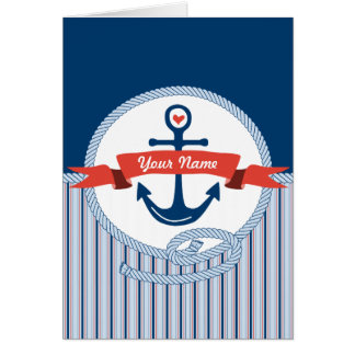 Nautical Anchor Rope Ribbon Stripes Red White Blue Greeting Card