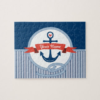Nautical Anchor Rope Ribbon Stripes Red White Blue Jigsaw Puzzle