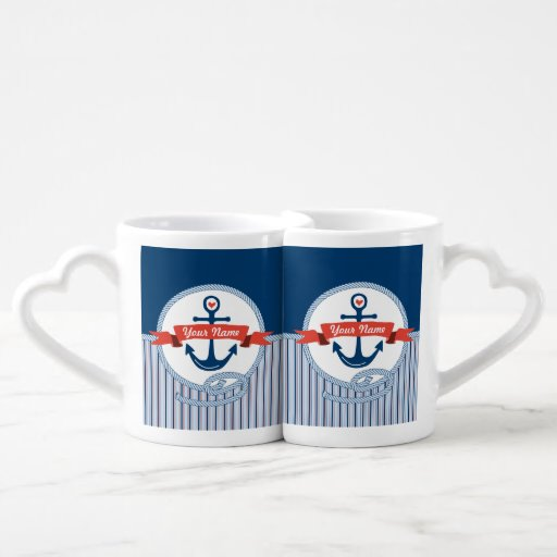 Nautical Anchor Rope Ribbon Stripes Red White Blue Lovers Mug Sets