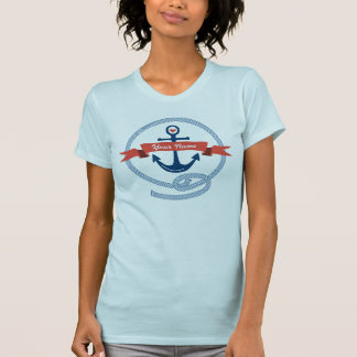 Nautical Anchor Rope Ribbon Stripes Red White Blue T-Shirt