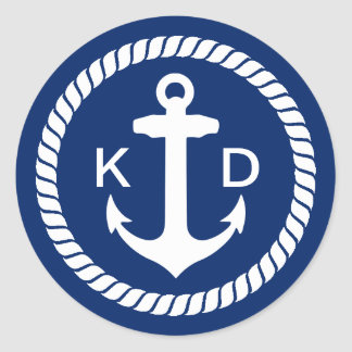 Nautical Anchor & Rope Wedding Favor Classic Round Sticker