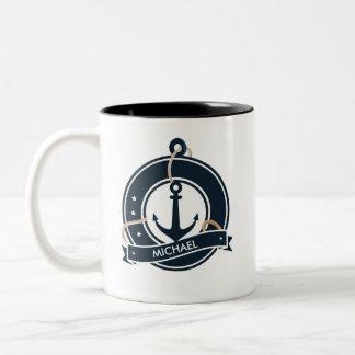Nautical Anchor Sailor Sailing Personalized Two-Tone Coffee Mug
