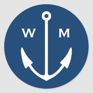 Nautical anchor stickers with monogram