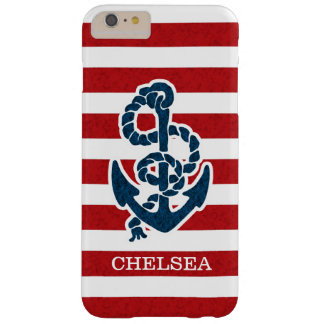 Nautical Anchor Stripe Pattern and Name Barely There iPhone 6 Plus Case