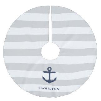Nautical Anchor & Stripe Personalised Brushed Polyester Tree Skirt